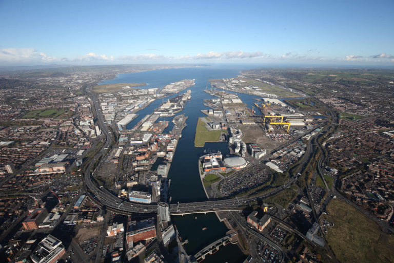 Aerial view of Belfast Harbour