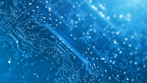 Electronic board image in blue