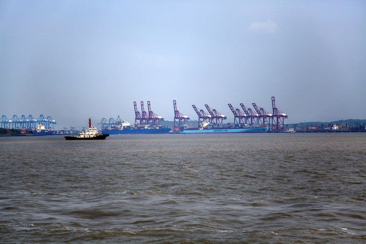 Cargo ship at Jawaharlal Nehru Port in Mumbai. This port, also known as Nhava Sheva, is the largest container port in India.