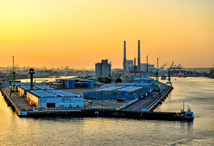 View over the port of Le Havre in France at sunrise