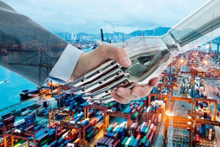 Businessman and robot shaking hands on commercial dock background