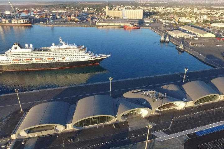 Aerial view of cruise ship arriving at Limassol port