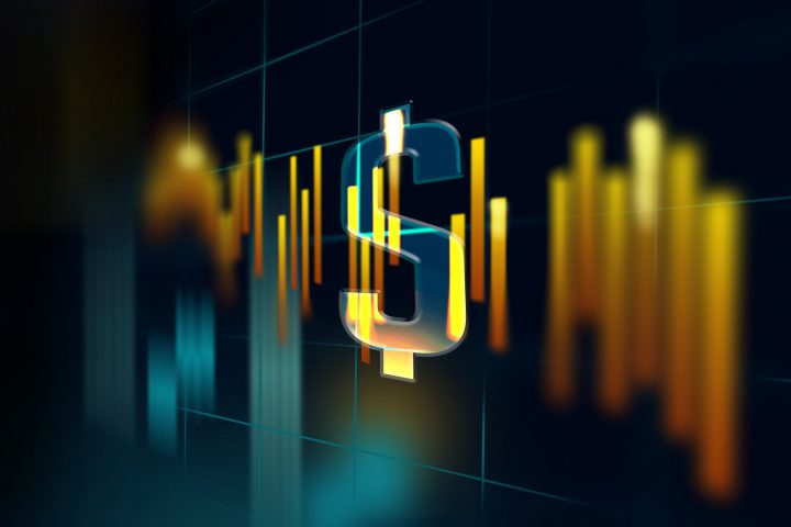 Dollar sign on a global stock exchange market scene with financal charts and graphs against dark background. Business, finance, technology and money concepts over futuristic electronic circuit. High resolution image is designed to crop all your social media, blog or print needs. Produced with Photoshop and 3D software.