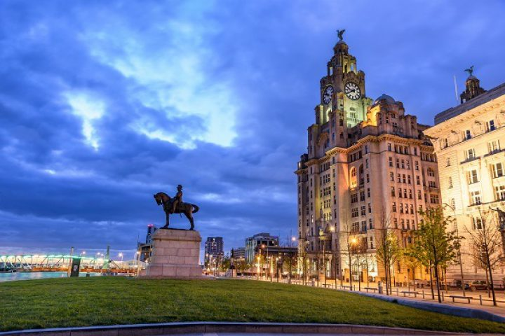 The Three Graces, historic buildings which dominate the Liverpool waterfront at Pier Head - Royal Liver Building, Cunard Building, Port of Liverpool Building.