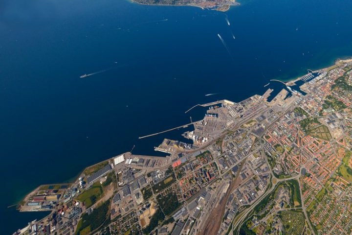 The port of Helsingborg from hi up in the sky