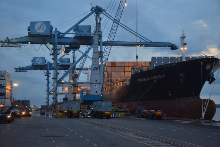 Container vessel at the RTC Douala
