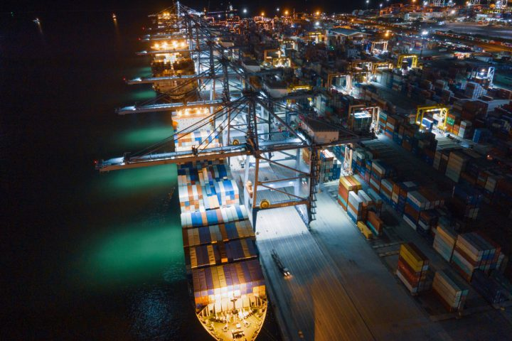 Container vessel at night at port