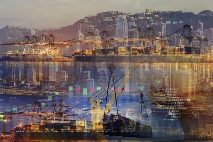 Double exposure of stocks market chart concept with International Container Cargo ship in the ocean, Freight Transportation, Shipping, Nautical Vessel,