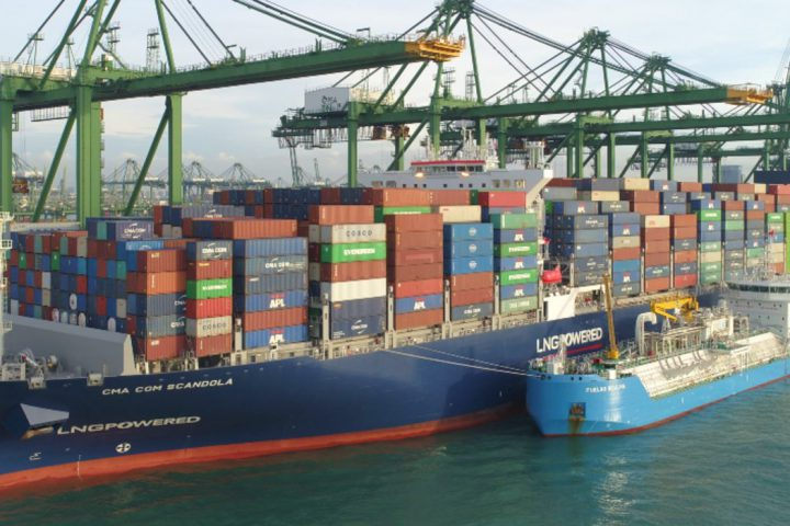 CMA CGM vessels refuels with LNG in Singapore