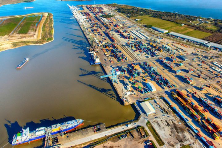 Aerial view of the Port of Houston, Texas as shot from an altitude of about 2000 feet during a helicopter photo flight.