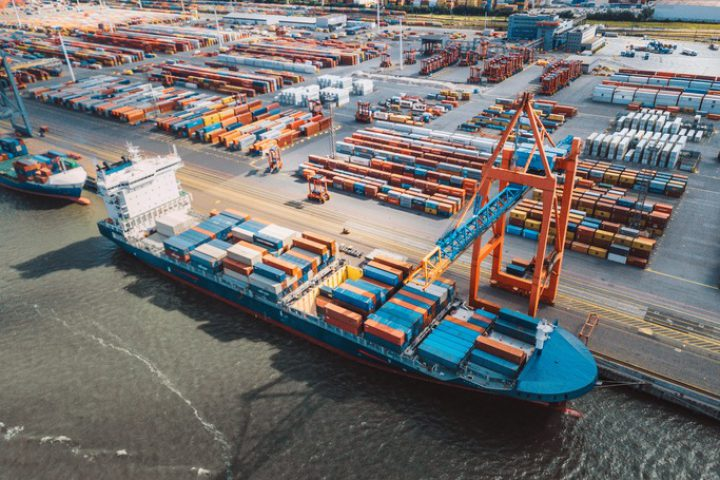 aerial view view on Cargo container terminal in Hamburg port