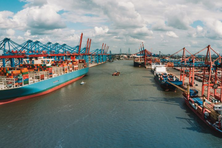 wide panoramic view over Cargo crane container terminal in Hamburg