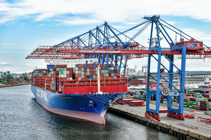 The container ship COSCO SHIPPING GEMINI has moored at the container terminal in the Port of Hamburg