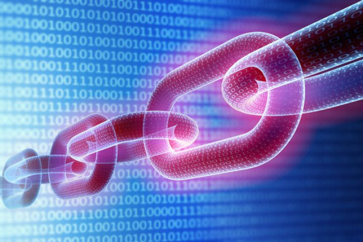 3D Render of a chain with binary code textures and a binary background