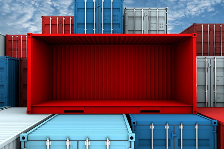 Whole side and empty red container box at cargo freight ship, 3d rendering