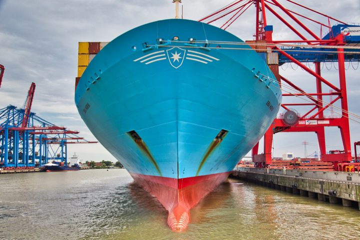 The Ebba Maersk, one of the largest container ships in the world in the port of Hamburg. A ship for the transport of goods which reflects the globilisation and the upswing.