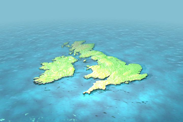 A CAD render of contoured version of british isles