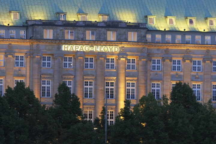 Hamburg, Germany - June 2, 2012: Night shot of the head office of the cargo container shipping company Hapag-Lloyd.