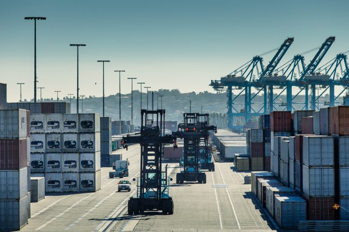Container Forklifts in Yard of Port of LA