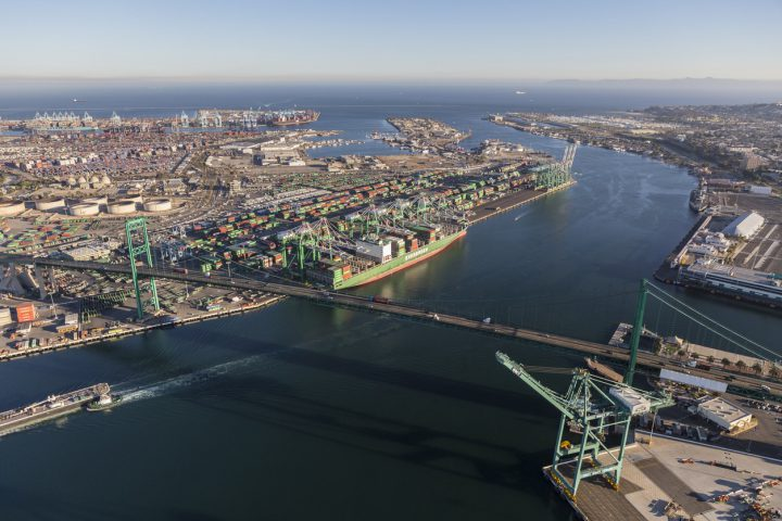 Los Angeles, California, USA - August 16, 2016:  Aerial view of the Port of Los Angeles, Terminal Island and the Vincent Thomas Bridge.
