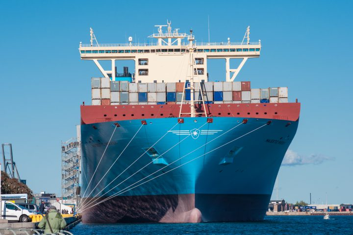 Copenhagen Denmark - September 27. 2013: Container ship Majestic Maersk in Copenhagen Harbor