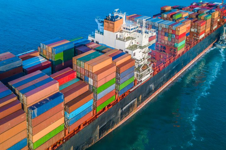 Cargo ship in import export and business logistic, Logistic and transportation of International Container Cargo ship in the open sea.