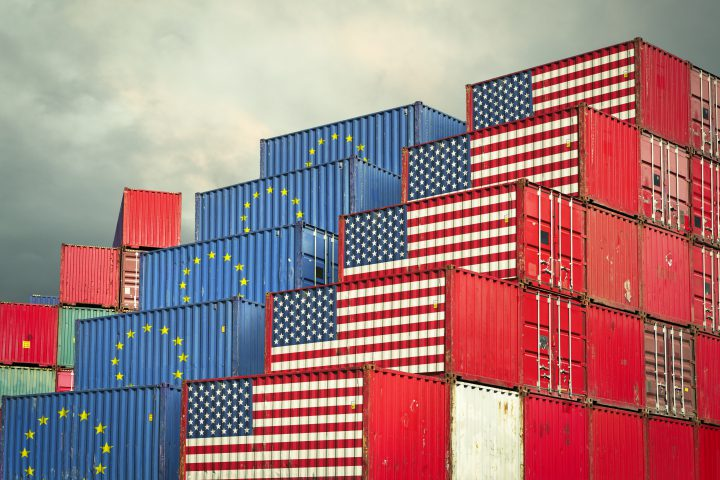 European Union and United States cargo containers reflecting trade war and restrictions in export and import