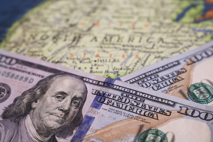 Concept of american economy and finance, exchange rate, US policy