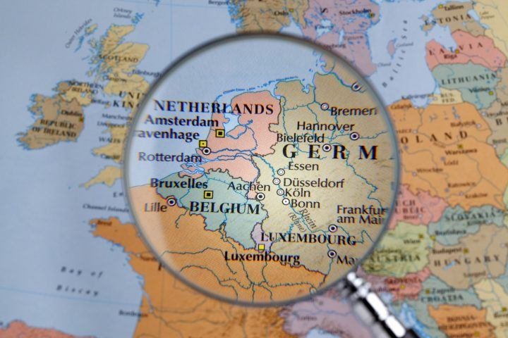close up of  Western Europe thru a magnifying glass