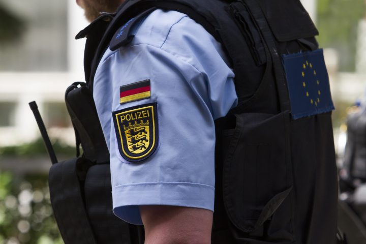 Detail of the uniforms of the German police in the European Union.